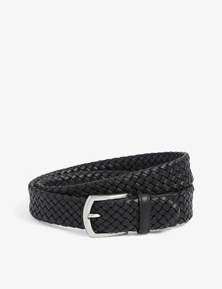 Canali Basketweave woven leather belt