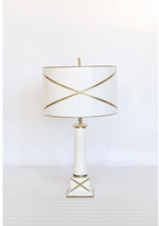 Tribeca Tole Lamp with Shade in White and Gold