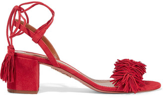 Aquazzura Fringe-trimmed Suede Sandals