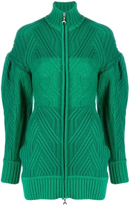 Marine Serre Cable Knit Cardigan
