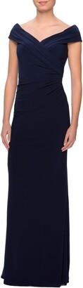 La Femme Ruched Surplice Jersey Gown