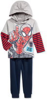 Nannette Little Boys' 2-Pc. Spider-Man Graphic-Print Long-Sleeve Shirt & Pants Set