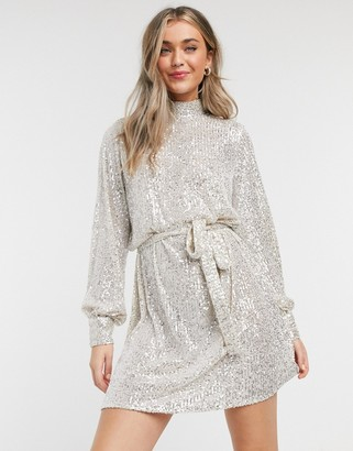 Pretty Lavish sequin balloon sleeve mini dress in silver