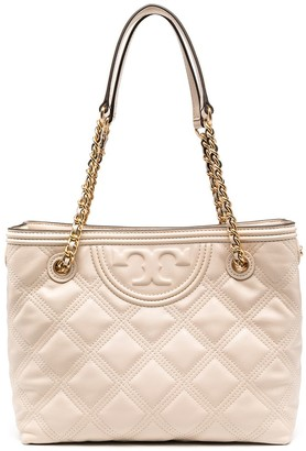 Tory Burch Diamond Quilted Logo Tote