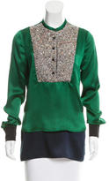 Yigal Azrouel Embellished Silk Top