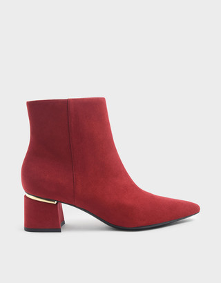Charles & Keith Metal Accent Block Heel Textured Ankle Boots