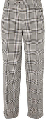 Gucci Grey Pleated Prince Of Wales Checked Cotton Trousers
