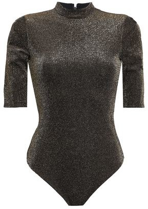 Alice + Olivia Metallic Stretch-knit Turtleneck Bodysuit