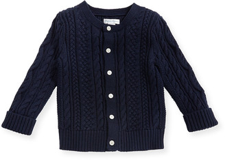Ralph Lauren Kids Soft Pearl Cotton Cable-Knit Cardigan, Navy, 6-24 Months