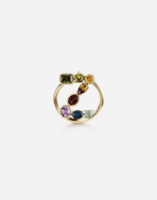 Dolce & Gabbana Rainbow Alphabet Z 18 Kt Yellow Ring With Multicolor Fine Gems