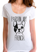 Goodie Two Sleeves White 'Pardon My French' Bulldog Tee - Plus Too