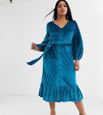 ASOS DESIGN Curve midi wrap dress in velvet broderie in aqua