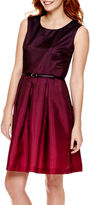 Liz Claiborne Sleeveless Belted Fit-and-Flare Dress - Tall