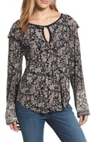 Lucky Brand Women's Mixed Floral Ruffle Top