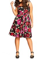 City Chic Vintage Floral Print Dress