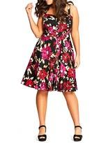 City Chic Vintage Floral Print Dress