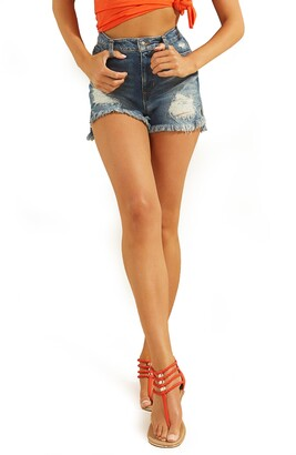 GUESS Claudia Distressed High Waist Cutoff Denim Shorts