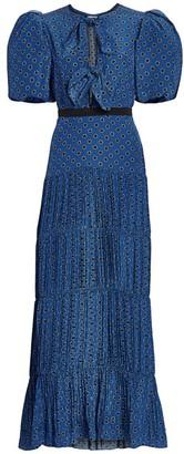 Johanna Ortiz Ancient Treasures Polka Dot Bow Plisse Puff-Sleeve Maxi Dress