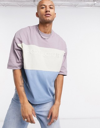 ASOS Dark Future oversized longline color block t-shirt with DF Collections logo print in heavyweight jersey