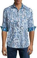 Robert Graham Galilei Paisley Sport Shirt, White/Blue