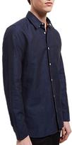 Jaeger Cotton Linen Regular Fit Shirt, Navy