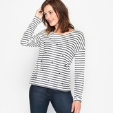Anne Weyburn Breton Striped Cotton/Modal Beaded T-Shirt