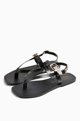 Topshop WIDE FIT PIPER Black Leather Buckle Sandals