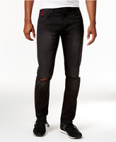 Armani Exchange Men's Destructed Slim-Fit Black Wash Jeans