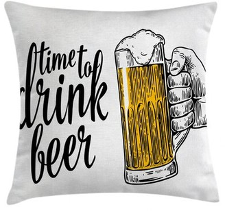 "East Urban Home Time To Drink Beer Indoor/Outdoor 28"" Throw Pillow Cover"