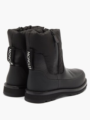 Moncler Leather And Nylon Rain Boots - Black