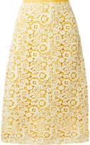 Miu Miu Guipure Lace Midi Skirt - Yellow