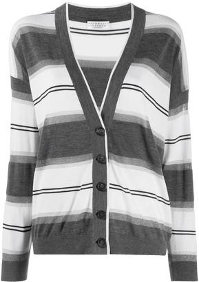Brunello Cucinelli striped V-neck cardigan
