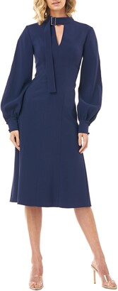Kay Unger Belt Collar Long Sleeve Stretch Crepe Dress