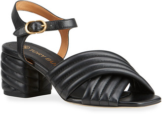 Tory Burch Kira Quilted Leather Ankle-Strap Sandals