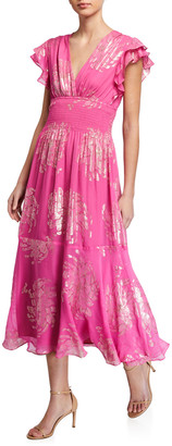 Shoshanna Zirara Metallic Clip Flutter-Sleeve Midi Dress