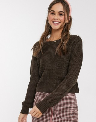 Brave Soul wilfred cropped fisherman rib jumper in brown