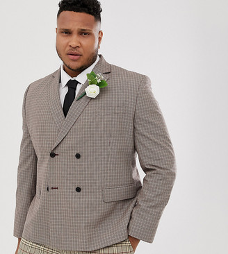 Asos Design DESIGN Plus wedding slim double breasted check blazer in camel-Beige