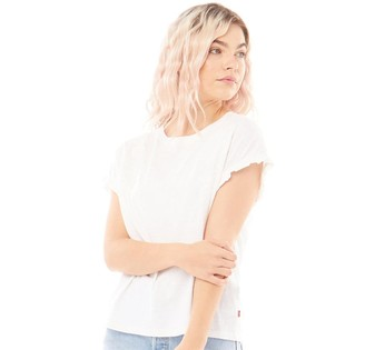 Levi's Womens Elma T-Shirt Floaty Floral Embroidery White