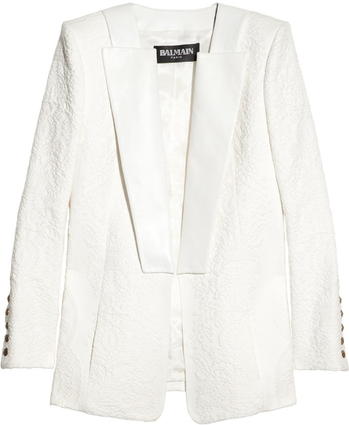 Balmain Leather-trimmed cotton-blend jacquard blazer