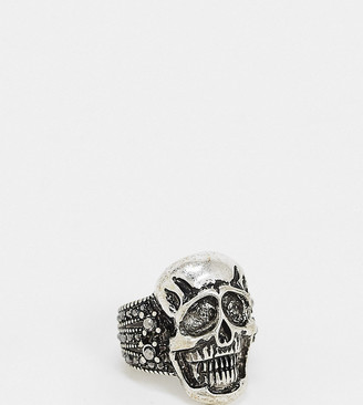 Reclaimed Vintage inspired statement skull ring in burnished silver