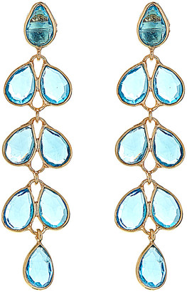 Forever Creations Usa Inc. Forever Creations 18K Yellow Gold Over Silver 27.00 Ct. Tw. Blue Topaz Drop Earrings