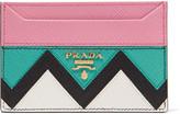 Prada Paneled Textured-leather Cardholder - Pink