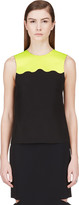 Jonathan Saunders Acid Green and Black Sleeveless Blouse
