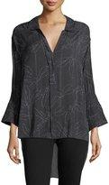 Halston Floral-Print Smocked-Sleeve Shirt