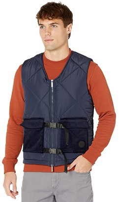 NATIVE YOUTH Logan Puffer Gilet with Corduroy Trim (Navy) Men's Clothing