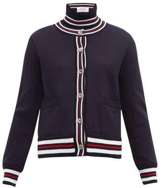 Thom Browne Striped Cotton-pique Cardigan - Womens - Navy
