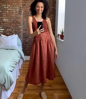 Lou & Grey Belted Linen Midi Pocket Skirt