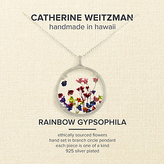 Catherine Weitzman Large Rainbow Gypsophila Round Pendant Necklace, Silver/Multi