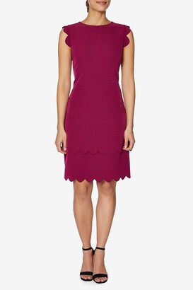 Betsey Johnson Scalloped Trim Scuba Crepe Dress