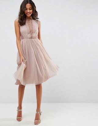 Asos Design ASOS Lace Tulle Cap Sleeve Midi Dress
